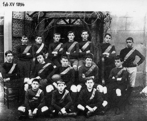 The 1st XV, 1896, Alan Moray Brown is first left on the back row