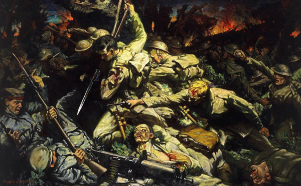The Battle of Mametz Wood, painted by Christopher Williams, 1918