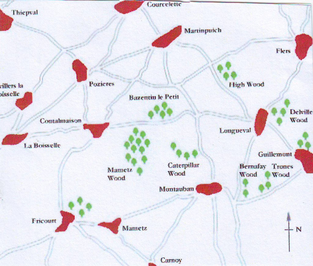 Map of the area around Mametz Wood