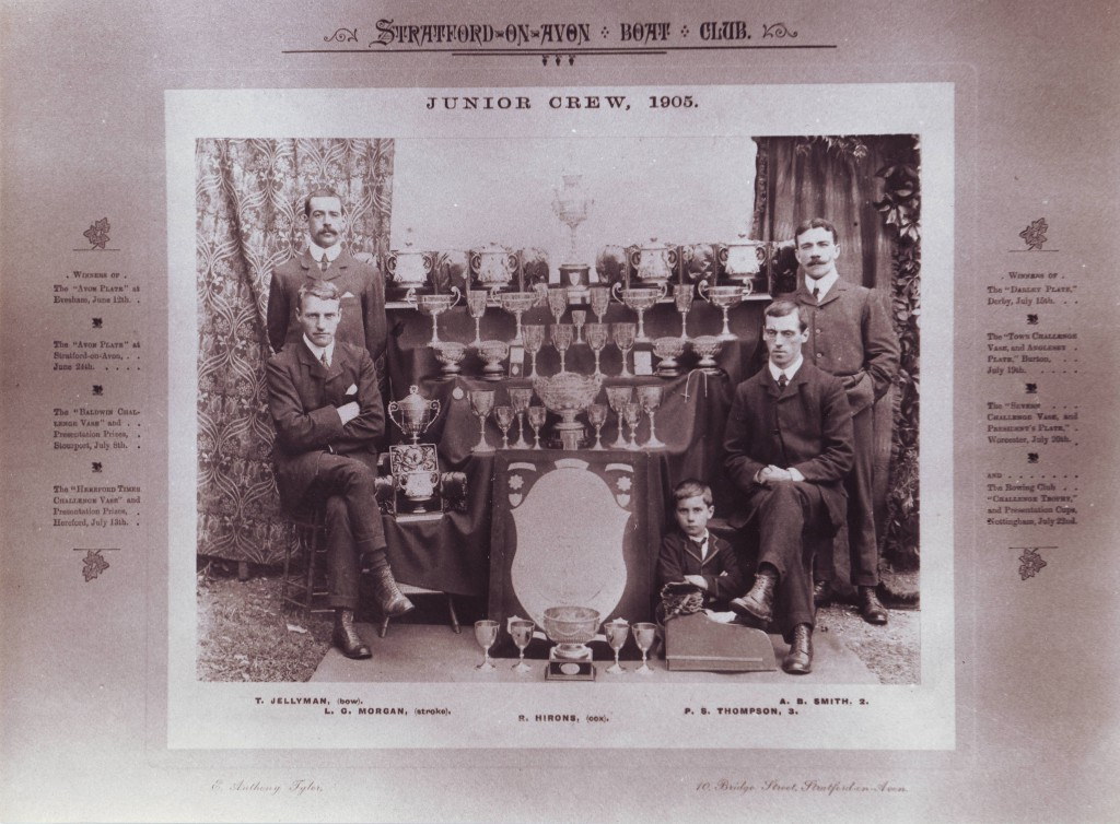 The Stratford-upon-Avon Boat Club junior rowing crew, 1905. Alfred 'Doc' Smith is standing on the right.