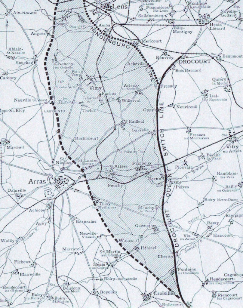 Map showing the Hindenburg Line, 1917