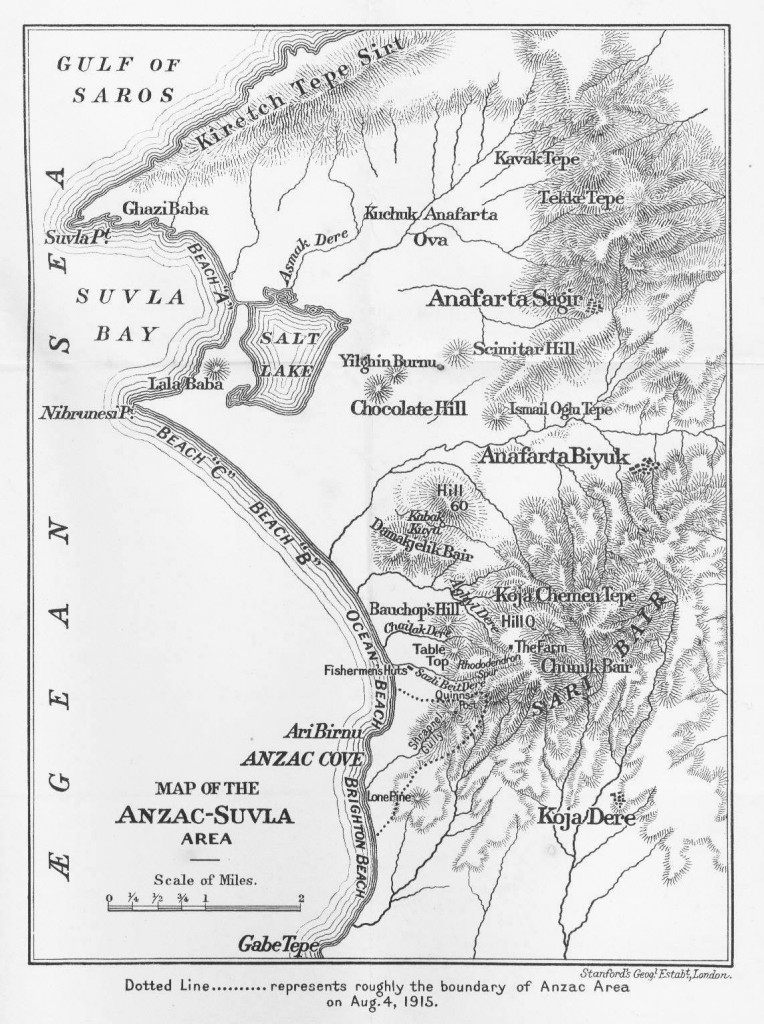 Map of Suvla Bay and Anzac Cove, 1915