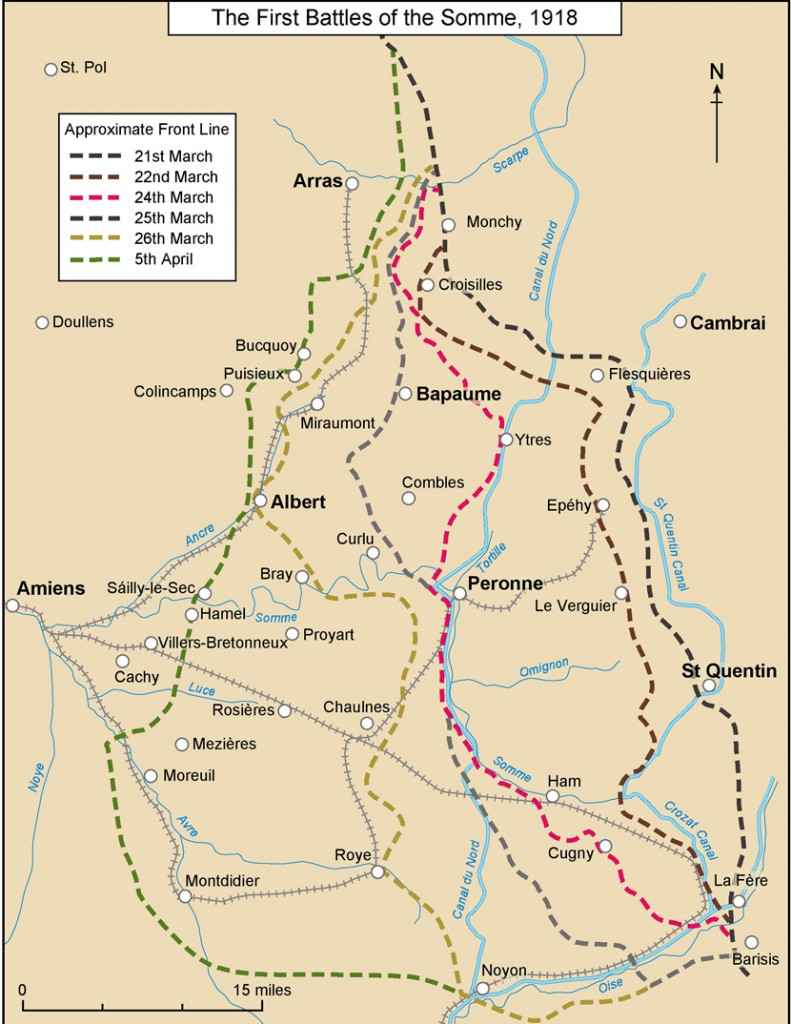 Map showing the area of the First Battle of the Somme, 1918