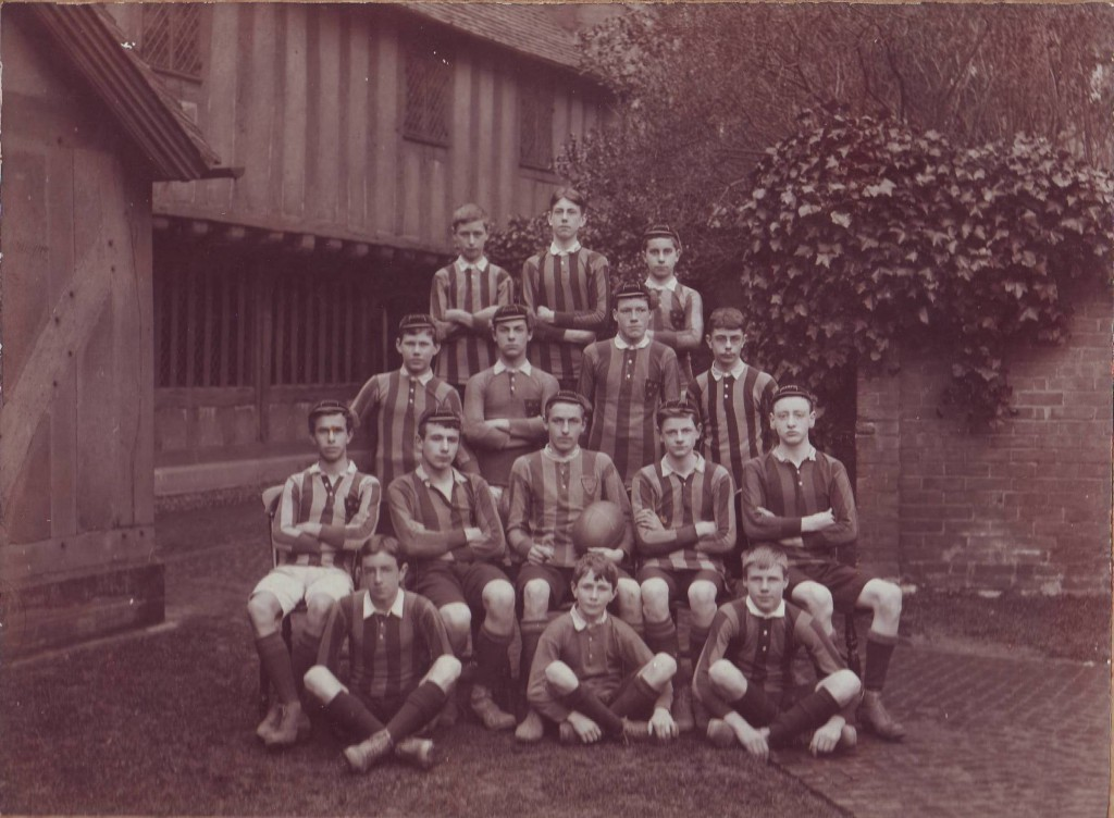1st XV, 1912. Frank Burt is seated on the right of the front row.